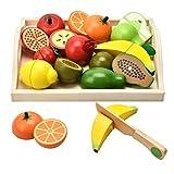 Carlorbo - Holzspielzeug für Kinder, Kücheutensilien, Rollenspiel, magnetisch, Obst und Gemüse, Lernspielzeug Jungen und Mädchen ab 3+ Jahren
