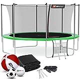 Hop-Sport Trampolin Outdoor Ø 490 cm – Gartentrampolin Komplettset mit stabilen U-Beinen, innenliegendem Netz, Sprungtuch und Leiter sowie Extra-Zubehör, grün