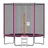 Mehomei Trampolin 244 305 366cm Gartentrampolin Komplettset mit Sicherheitsnetz Randabdeckung Leiter Gepolsterten Stangen & Zubehör, Outdoor-Trampolin Kindertrampolin, bis 120 kg
