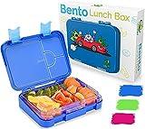 TAKWAY Kinder Bento Box mit Fächern blau | Brotbox mit Unterteilung variabel 4 oder 6 Fächer | Jausenbox Kindergarten KiTa Schule | Brotdose Kinder mit Fächern