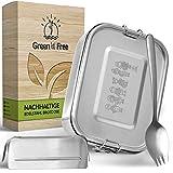 Green 'n' Free Edelstahl Brotdose Kinder - TÜV geprüft - Plastikfrei - 800ml auslaufsichere Brotbox mit herausnehmbarer Trennwand - Lunchbox mit Göffel für Kinder