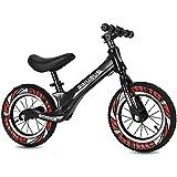 Laufrad 14' für Kinder 2 bis 8 Jahre, Magnesiumrahmen, Lauflernrad mit höhenverstellbar Sattel und 360° drehbarer Lenker, Fußstütze, leichte Kinderlaufrad, bunten Reifen (Schwarz, F 14')