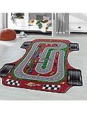 Carpet 1001 Kinderteppich Spielteppich Kinderzimmer Teppich Rennstrecke Auto Rot - 80x120 cm