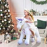 PonyCycle Offizielle Prämie K-Serie Reiten auf Einhorn Spielzeug Plüsch Lauftier Einhorn mit lila Horn für Alter 4-9 Mittlere Größe K41