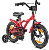 Prometheus Kinderfahrrad 14 Zoll Jungen mit Stützräder ab 3-4 Jahre Mädchen Rücktritt 14zoll BMX Modell 2021 in Rot Schwarz