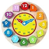 WINBST Lernuhr Holzspielzeug,Montessori Bunte Lernen Puzzle mit Zahlen und FormenFrühes Pädagogisches Geschenk Kinder