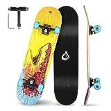Vikaster Skateboard Komplettboard 79x20cm Holzboard,8-Lagiger Schichten Haltbarer Ahorn für Anfänger und Profis,Stilvoll Longboard für Mädchen/Jungen/Jugendliche/Erwachsene/Kinder -Belastung 150 KG