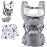 Belly Boon Babytrage für Neugeborene ab Geburt - bequeme Baby Trage aus hochwertiger Baumwolle mit flexiblem Tragesystem für Frauen & Männer (grau)