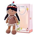 Gloveleya Plüsch Puppe Rag Puppe Native Indian Girl weich und sicher zu Spielen Baby Puppe Baby Spielzeug ab 0 zu 6 Monate 1 2 Jahr 33CM