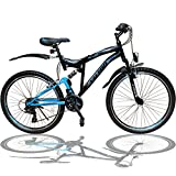 Talson 24 Zoll Mountainbike Fahrrad MIT VOLLFEDERUNG & Beleuchtung 21-Gang Shimano OXT Black