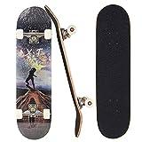 Sumeber Skateboard für Anfänger 31 x 8 Zoll Komplettboard mit ABEC-7 Kugellager Double Kick Skateboards Geburtstagsgeschenk für Kinder Teenager und Erwachsene (Straße erkunden)