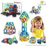 HOMOFY 48PCS Magnetische Bausteine - Konstruktion Bauen Blöcke Set Spielzeug Teilen für Kinder Spielzeug für 3 4 5 6 7 8 Jahre Alte, Lernspielzeug für Mädchen Jungen Geschenk