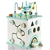 S U N Motorikwürfel aus Holz in schönen Pastellfarben - inklusive Kochplatten - Spielwürfel mit Mini-Küche