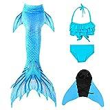 Meerjungfrauenflosse Mädchen zum Schwimmen Monoflosse Meerjungfrau, Meerjungfrauenschwanz Meerjungfrau Flosse Kinder Prinzessin Cosplay Bikini Badeanzug (RY-02, XXL(140-150 cm)12-13 Jahre)