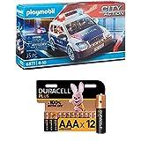 Playmobil City Action 6873 Polizei-Einsatzwagen mit Licht- und Soundeffekten, Ab 5 Jahren + Duracell Plus AAA Alkaline-Batterien, 12er Pack