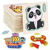 Faburo 16PCS Holzpuzzle für Kinder Steckpuzzle Holz 3D Tier Puzzles für Mädchen Junge Lernspielzeug Geschenk