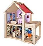 Eichhorn 100002501 - Puppenhaus fertig montiert inklusive 2 Puppen und Möbeln, 9-tlg., 22,5x36x41cm, Buchenholz