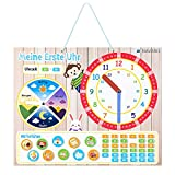 Navaris Lernuhr für Kinder magnetisch - Uhrzeit lernen - Magnet Lerntafel ab 3 Jahren - Spielzeug Uhr - Lernspielzeug 49 Magneten - Beige - Deutsch
