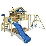 WICKEY Spielturm Klettergerüst Smart Seaway mit Schaukel & blauer Rutsche, Stelzenhaus mit Sandkasten, Kletterleiter & Spiel-Zubehör