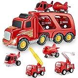 Feuerwehrauto Auto Spielzeug Set, Spiel Fahrzeug Set für Kinder Kleinkinder Jungen Kind Geschenk Alter 3 4 5 6 7 Jahre alt, gehören Rettungshubschrauber, Flugzeug, Hub Feuerwehrauto und Feuerwehrauto