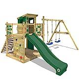 WICKEY Spielturm Klettergerüst Smart Camp mit Schaukel & grüner Rutsche, Baumhaus mit Sandkasten, Kletterleiter & Spiel-Zubehör