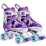 Gonex Verstellbar Rollschuhe für Kinder,mit Leuchtenden Rädern Roller Skates Bequem und atmungsaktiv Quad Skates für Mädchen,Anfänger (Größe 31-34)