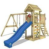 WICKEY Spielturm Klettergerüst MultiFlyer Holzdach mit Schaukel & blauer Rutsche, Kletterturm mit Holzdach, Sandkasten, Leiter & Spiel-Zubehör