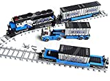 Bausteine Zug, Güterzug Bauset mit Wagons, Schienen,Container LKW, 1008 Klemmbausteine