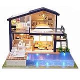 Primlisa Puppenhaus DIY Dollhouse Kit Licht Modell Kreativ Geburtstag Weihnachts Geschenk mit Licht Musik, Puppenhaus mit Renovierung Woodcraft Bau Kit Mini Handgefertigte LED Licht Miniatur Home