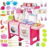Kinderplay Kinderküche Spielküche mit Toaster - Kinder Küche mit Zubehör, Küchenspielzeug mit Sound- und Licht, Wasserhahn mit Wasser - Pump-Funktion, Kinderküche zubehör mit Spüle, KP6030