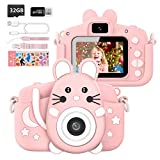 Hangrui Kinderkamera,Selfie Fotoapparat Kinder Kamera Kinder mit 2,0-Zoll-Großbildschirm 1080P HD 20MP Eingebaute 32GB SD-Karte Digitalkamera Kinder für 3-12 Jahre Geburtstag Kinder