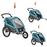 HOMCOM 3 in 1 Kinderanhänger Aluminium Kinder Jogger Fahrradanhänger Radanhänger für 2 Kinder mit Schwingungsdämpfungssystem Aufbewahrungstasche verstellbarer Lenker Blau