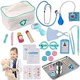 Sundaymot Arztkoffer Kinder Holz Doktor Spielzeug mit Echt Stethoskop Thermometer, Spritze und Praktischem für Kinder Rollenspiel Medizinisches Geschenk ab 3 4 5 Jahren Jungen