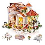 Cuteefun DIY Puppenhaus Miniatur Haus mit Musik und Möbeln Selber Bauen, Bastelset Erwachsene, Handgemachtes Geburtstagsgeschenk für Frauen, Farbige Glasurzeit