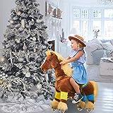 PonyCycle Official Prämie K-Serie Reiten auf Pferd Spielzeug Plüsch Walking Animal braunes Pferd mit Langer Mähne für Alter 3-5 Small Size K32
