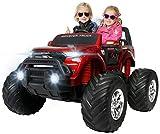 Actionbikes Motors Kinder Elektroauto Ford Ranger Monster - 4 x 45 Watt Motor - Touchscreen - Allrad - 2-Sitzer - Rc Fernbedienung - Elektro Auto für Kinder ab 3 Jahre (Weinrot Lackiert)