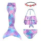 RIKILIO 4 Stück Mädchen Meerjungfrauenschwanz zum Schwimmen 110cm Meerjungfrau Badeanzug mit blumenkranz haare, Cosplay Kostüm für Kinder Meerjungfrauenflosse Mädchen Bademode ohne Monoflosse