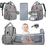 LOVEVOOK Wickeltasche Rucksack Multifunktional Wickelrucksack Babytaschen Große Kapazität Wickeltaschen mit Bett Grau