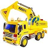 HERSITY Bagger Spielzeug Gross mit Sound und Licht Fahrzeug Sandkasten LKW Auto Kinderspielzeug Geschenk für Kinder Jungen 3 4 5 Jährige, 1:16 Spielzeugautos