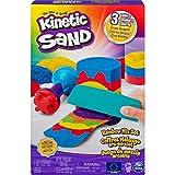 Kinetic Sand 6053691 Regenbogen Mix Set mit 383 g Kinetic Sand in 3 Farben und Förmchen