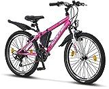 Licorne Bike Guide Premium Mountainbike in 24 Zoll - Fahrrad für Mädchen, Jungen, Herren und Damen - 21 Gang-Schaltung - Rosa/Weiß