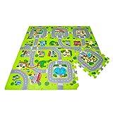 Leo & Emma Hochwertige Puzzlematte Spielstraße Kinder-Spielteppich Spielmatte mit Straßenzug Als Krabbelmatte zum Toben, mit tollem Straßenmuster, Spieldecke - TÜV getestet