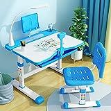 YSXFS Kinderschreibtisch, Kindertipp Und Stuhl Set Mit Led-schreibtischlampe, Kinderstudierschalter-Kunst-Schreibtisch Mit Tilt-Desktop/Lese-bücherregal Kinder-bildungsgeschenk Kinder(Color:Blau)