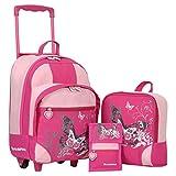 Keanu Kindertrolley 3er Set Reisegepäck stabil, höhenverstellbarem Griff, Reißverschlussfach, Reisekoffer Rucksack Brustbeutel (Fuchsia)