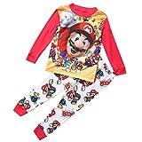 Heißer Cartoon Super Mario Baby Kinder Mädchen Jungen Freizeit Kleidung Sets Nachtwäsche Nachtwäsche Pyjamas Baby Jungen Kleidung Set Baby Jungen Kleidung Set 1-7Y (Mehrfarbig, 4-5 Jahre)
