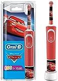 Oral-B Kids Cars Elektrische Zahnbürste für Kinder ab 3 Jahren, kleiner Bürstenkopf & weiche Borsten, 2 Putzprogramme inkl. Sensitiv, Timer, 4 Disney-Sticker, Rot