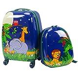 DREAMADE Kinderkoffer-Set Kiderkoffer mit Rucksack, Kindertrolley Kindergepäck, Handgepäck Reisegepäck Hartschalenkoffer für Kinder (Dunkelblau)