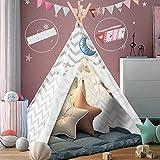 Kinder Spielzelt, Zelt Spielhaus mit Fenster, Kinderhaus, Kinderzelt aus Holz und Baumwolle
