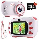 RUMIA Kinderkamera Digitalkamera Fotoapparat Kinder für Jungen Mädchen 1080P Fotokamera Bester Weihnachten Geburtstag Geschenke Spielzeug für 3 bis 12 Jahre mit 2 Zoll Bildschirm 32G TF-Karte (Rosa)