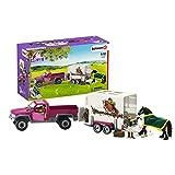 Schleich 42346 Horse Club Spielset - Pick-up mit Pferdeanhänger, Spielzeug ab 5 Jahren,5 x 14.5 x 12.5 cm